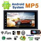Android 8.1 Autoradio Stereo mit Dual Bluetooth - Standard, Universal DC12V Ultradünn ultraleichtes 1080P 7-Zoll-2DIN, Lenkradfernbedienung FM/AM-Radio für Multimedia-Radio, WiFi/BT