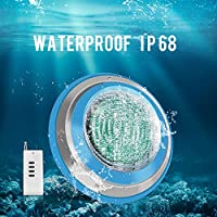 Roleadro Waterproof IP68 47W RGB Swimming Pool Lights, 12V AC/DC Led Inground Pool Light Control with Remote Controller