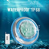 Roleadro Led Pool Light, Waterproof IP68 47W RGB Swimming Pool Lights Multi Color(Not Include White), 12V AC/DC Led Inground Pool Light Control with Remote Controller(Not Include Battery - 6ft Cord