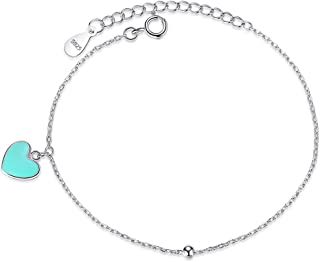 YHDBH Valentine's Day Blue Enamel Heart Round Ball Women Bracelet 925 Sterling Silver Chain Bracelet