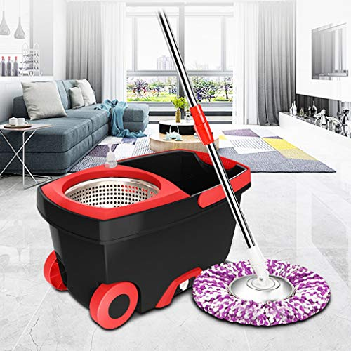 OKBOP Microfiber Spin Mop and Bucket Set with Wringer, New Upgraded Floor Cleaning Tools, Combo Mops Cart Kit on Wheels, 360 Swivel Mop System (Black)