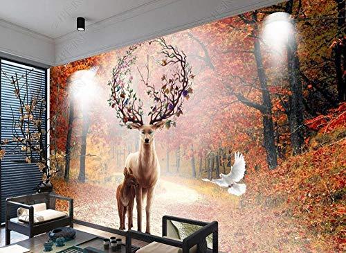Wallpaper 3D Wall Murals Elk White Dove Maple Forest Deciduous Scenery Wallpaper Wall Mural Living Room Bedroom Tv Background Wall Mural Decoration Art 300cmx210cm