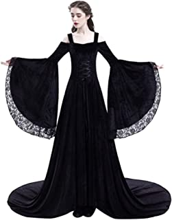 Forthery Women Princess Dress Retro Medieval Party Lace Flared Sleeve Renaissance Costumes Vintage Floor Length Dresses