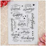Kwan Crafts Word Friend thank you Star everything IS BETTER Clear Stamps for Card Making Decoration and DIY Scrapbooking