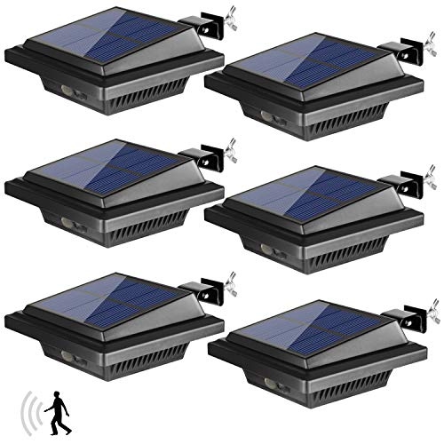 BILLION DUO Dachrinne Solarleuchte mit Bewegungsmelder 40 LEDs   Solarlampen für Außen   Schwarz Gartenbeleuchtung Kaltweißes Solarlicht, 3W PIR Sicherheitswandleuchte Außenlampe für Garage, Patio