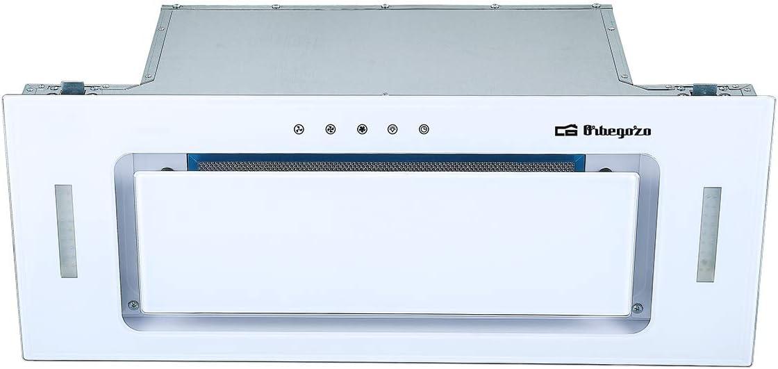 Orbegozo CA 09160 BL - Campana extractora cassette 60cm, Clase A, frontal cristal templado blanco, extracción 589,4 m3/h, 3 niveles de potencia, iluminación LED
