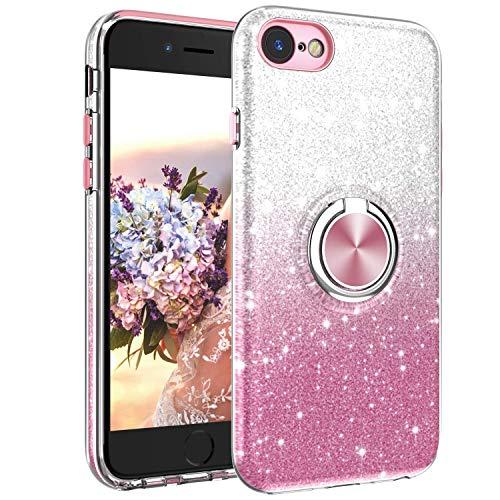 KimSome Hülle für iPhone 7/8 Glitzer Handyhülle mit 360 Grad Ring Halter Handy Hüllen Rose Stilvolle Crystal Cover für 4,7 Zoll mit Bling Diamond Rhinestone Muster
