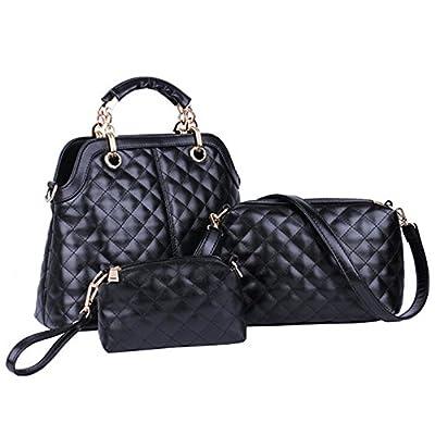 BYD - Femme Sacs portés main Set 3 in 1 Set Couleur pure High Quality PU en Cuir Diamond Shape Mutil Function with 1 Portefeuille and 1 Wallet Elegant Fashion School Bag Work Office Bag