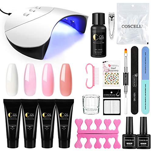 Saint-Acior schnell Nagelverlängerung Gel Extension Polish Nagel Aufbau Gel Set mit UV/LED Nagellampe Quick Building Gel+Silp Solution+Werkzeug Set für Gelnägel