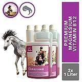 EMMA® Magnesio Vitamina B12 per Cavalli - mangime per Cavalli I Mangime supplementare per i nervi, per Lo Stress, L-triptofano I 2 X 1 litro