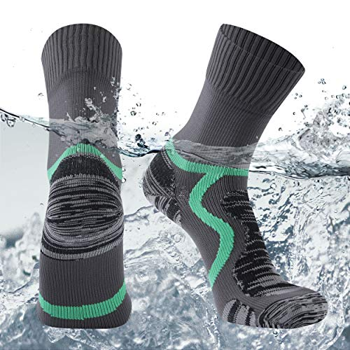 SuMade Womens Waterproof Skiing Socks, Mens 100% Water Resistant Athletic Lightweight Full Cushioned Warm Running Hiking Camping Quick Dry St. Patrick's Day's Crew Socks 1 Pair (Gray,Small)