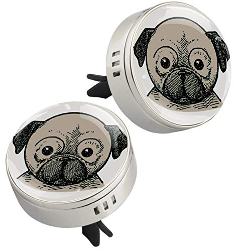 2PCS Puppy Pug Print Car Aromatherapy Essential Oil Diffuser Locket Magnetic Closure Locket with Vent Clip 4 Refill Pads (Sliver)