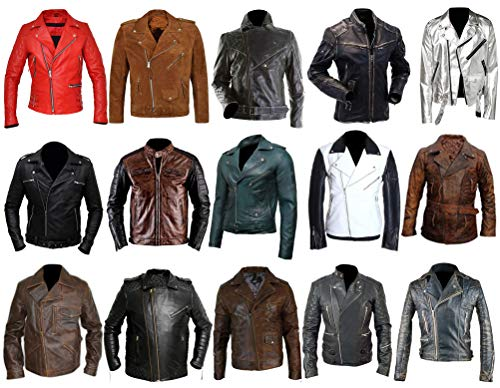 III-Fashions Mens Black & Brown Cafe Racer Retro Brando Vintage Quilted Motorcycle Leather Biker Jacket