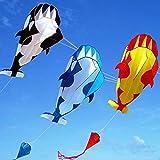 N/P Al Aire Libre Dolphin Soft 3D Kite Nylon Tela Kite Line Cometas animadas Pesca Cometa Inflable Juguete al Aire Libre Fly Parafoil Breeze 3 Colores