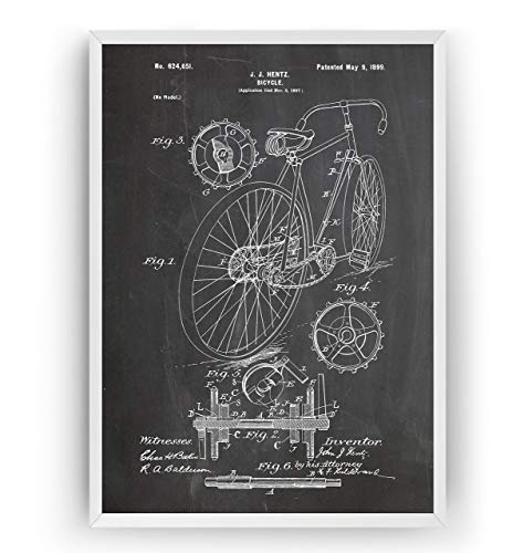 Fahrrad 1899 Patent Poster - Bicycle Jahrgang Drucke Drucken Bild Kunst Geschenke Zum Männer Frau Entwurf Dekor Vintage Art Blueprint Decor - Rahmen Nicht Enthalten