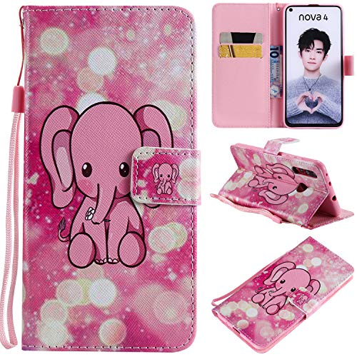 nancencen Kompatibel mit Handyhülle Huawei Nova 4 Hülle, Painted Nette PU Leder Tasche Schutzhülle Hülle [Rosa Baby-Elefanten]