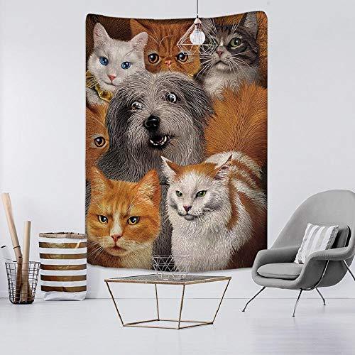 AdoDecor Tapiz para Mascotas, Gatos y Perros, decoración de Gama, Mandala, Tapiz artístico para Colgar en la Pared, Dormitorio, decoración del hogar, 152x102cm