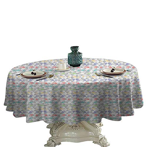 Pastel Table Cover Colorful Mosaic Tile with Triangle Shapes and Fractal Look Hipster Modern Geometric Dining Round Tablecloth 70 inch