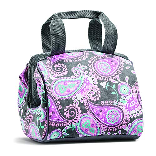 Fit and Fresh Charlotte Insulated Lunch Bag for Women 9 x 6 x 8 Pink Aqua Paisley
