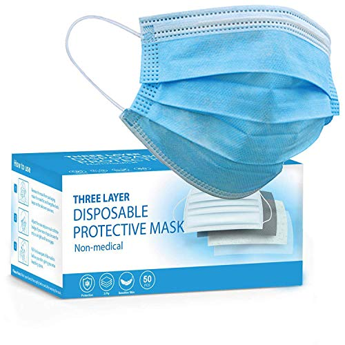 KEPLIN Face masks, 3 Layer protective, disposable face masks, Comfortable ear loops, Face mask Pack of 50