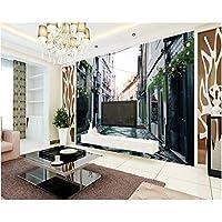 Iusasdz カスタムリビングルームの背景3D壁紙ヨーロッパ建築ノスタルジッククラシックストリート壁紙家の装飾-350X250Cm