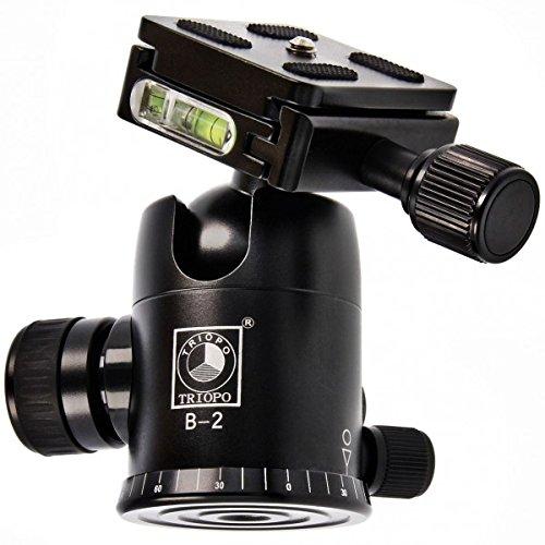Impulsfoto TRIOPO B-2 Stativkopf (Belastbarkeit: 8 kg, Hoehe: 97mm, Gewicht: 0,45 kg) mit Wechselplatte & Wasserwaage inkl. Adaptergewinde 1/4 zu 3/8