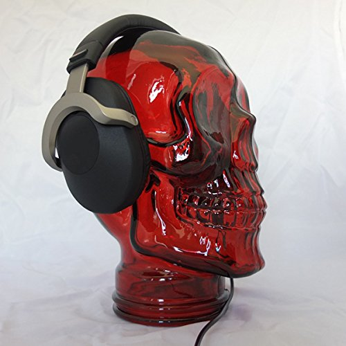 AMP3 Luxury Glass Skull Headphones Stand - RED