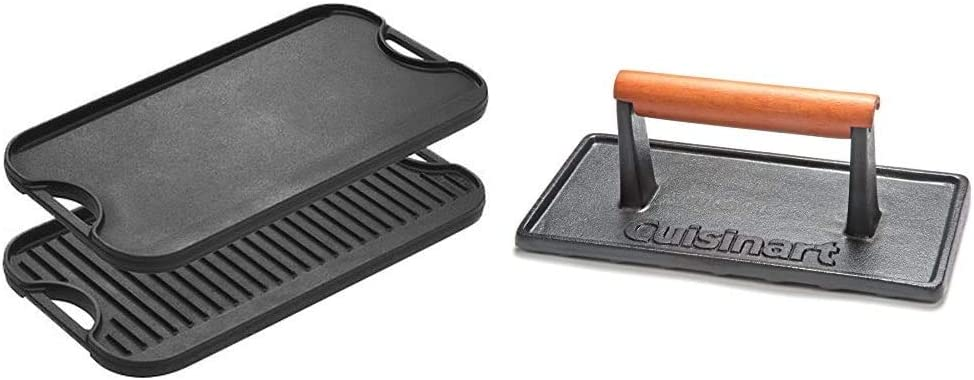 Lodge Pre-Seasoned Cast Iron Reversible Grill/Griddle With Handles, 20 Inch x 10.5 Inch & Cuisinart CGPR-221, Cast Iron Grill Press (Wood Handle)