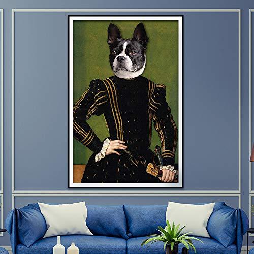 Geiqianjiumai wandfoto, retro-stijl, decoratie van het huis, dierdruk, motief: Nordic hert hond kat canvas, muurschildering