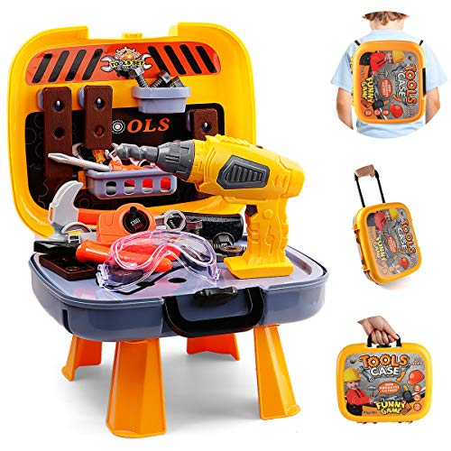 Hanmulee 45pcs Kids Tool Set , 4 In 1 Childrens DIY Toy Tool Kit with Electric Drill , Kids Workbench Pretend Play Tool Box for Age 3 4 5 6 7 Toddlers Boys
