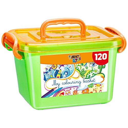 BIC Kids Colouring Box, 60 Matite Colorate e 60 Pennarelli, Scatola Facile da Trasportare, Ottime per Colorare, per Bambini a Casa e a Scuola