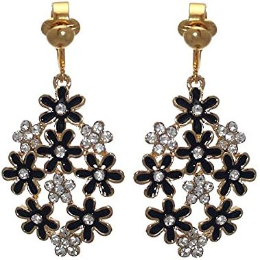 PRETTY Gold plated Black Flower Crystal Clip On Earrings