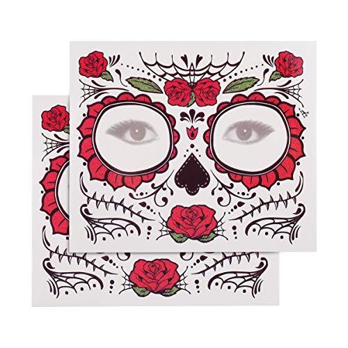 FRCOLOR Halloween Visage Tatouages Crâne Tatouages ??Temporaires Étanche Jour Des Morts Autocollants Tatouages ??Faciaux Complets pour Femmes Hommes Enfants 2Pcs