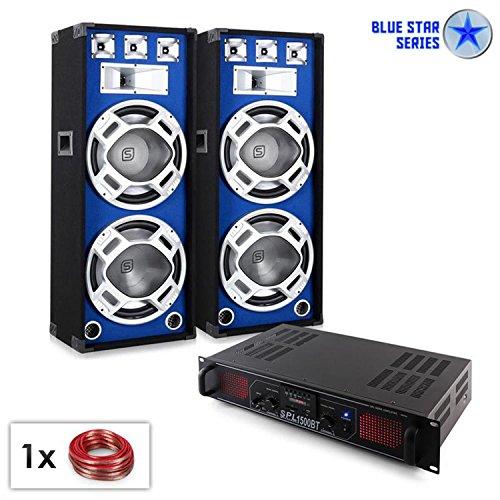 PA Set Blue Star Series Beatsound Bluetooth MP3 1500W Party Lautsprecher & Verstärker Set (Bluetooth, USB-SD-Slot, Boxen mit LED-Lichteffekt, Radio, inkl. 10m Lautsprecherkabel)