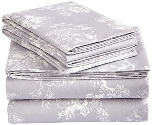 Pinzon Cotton Flannel Bed Sheet Set  Queen Floral Grey