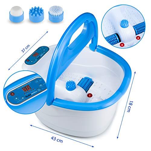Hydrapedics Advanced Motorised Foot Spa/Bath Massager Machine with Bubble Aeration, Heat Temperature Control and 3 Pedicure Attachments - Premium