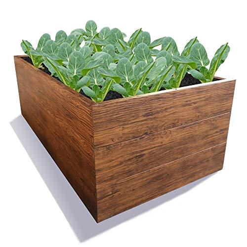 GARTENDEK Hochbeet, Blumenhochbeet für Garten - Premiumqualität. Gartenbeet aus Verzinktem Metall LBH 200x100x63 cm Holzoptik, für Kräuter und Gemüse, Langlebig, Einfacher Aufbau ohne Werkzeug