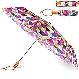 Kate Spade New York Travel Umbrella, Lightweight Compact Umbrella with Storage Sleeve, Spade Dot Geo