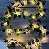 Guirnalda de luces LED para plantas, hojas artificiales, funciona con pilas, para casa, decoración, boda, para colgar, jardín, patio