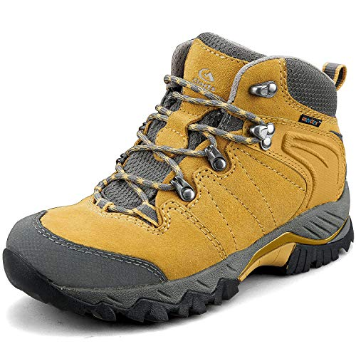 Clorts Women's Classic Hiking Boots Waterproof Suede Leather Lightweight Hiking Shoes Yellow US Women Size 9 Medium Width