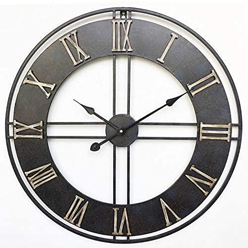 Reloj de Pared para jardín al Aire Libre, 23 Pulgadas de Hierro Forjado, Retro, Grande, Reloj de jardín, Cara Abierta Gigante, Impermeable, Reloj Exterior, decoración, Reloj Exterior para in