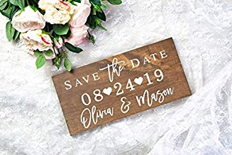 Save the Date Sign, Engagement Photo Prop, Last Name Sign, Wedding Date Sign