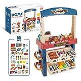 Juego de juguetes de la tienda de supermercado para niños, Conjunto de juguetes de caja registradora de compras de supermercado de helados, Regalos de simulación de juegos para niños y niñas,Azul