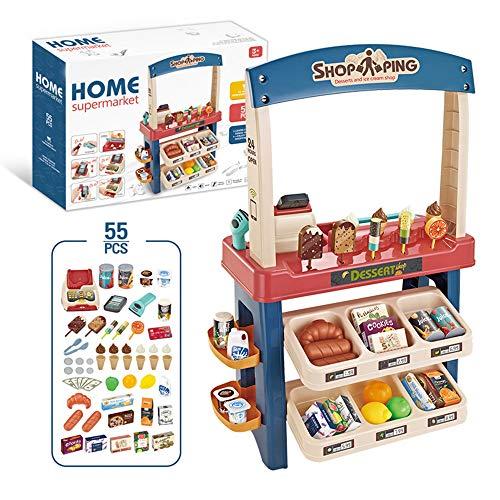 MUXIN Juego de Juguetes de la Tienda de supermercado para niños, Conjunto de Juguetes de Caja registradora de Compras de supermercado de Helados, Regalos de simulación de Juegos para niños y niñas