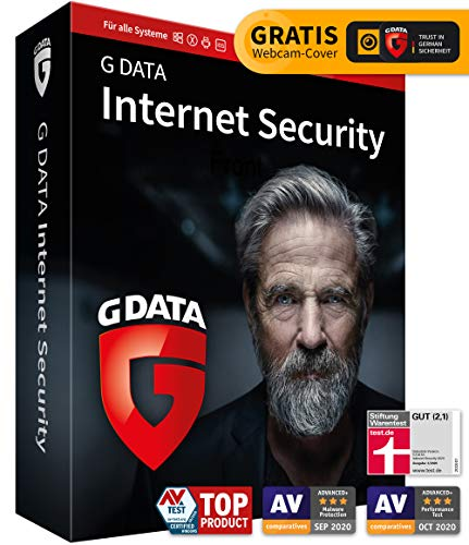 G DATA Internet Security 2020, 3 Geräte - 1 Jahr, DVD inkl. Webcam-Cover, Windows, Mac, Android, iOS Antivirenprogramm