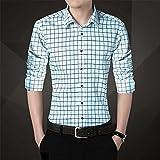 HDDFG Camisa para hombre de talla grande 5XL Camisa informal para hombre Camisa a cuadros de manga larga Camisas para hombre Ropa masculina (Color : Sky Blue, Size : 5XL code)