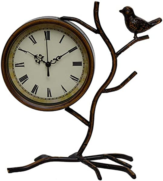 Wusfeng Vintage Table Clock Metal Bird Shape Sculpture Classic Desk Clock With Roman Numerals Non Ticking Old Fashioned Suitable For Home Decor