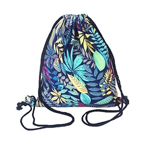 Unisexe Voyage Sport Drawstring sacs à dos en toile Blue Leaves style