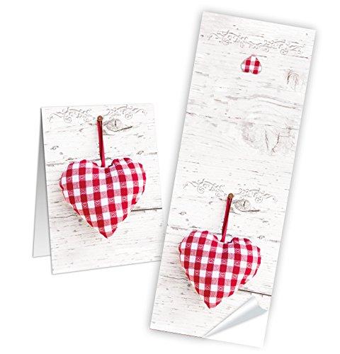 10 Stück Aufkleber rot grau weiß kariertes HERZ 5 x 14,8 cm Geschenkaufkleber Geschenk-Verpackung Sticker Banderolen Deko Bayern Weihnachten Hochzeit Geburtstag Papiertüten zukleben Etiketten