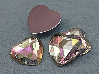 KraftGenius Allstarco 25mm Flat Back Heart Acrylic Rhinestones 1 Inch Costume Plastic Gems Cosplay Jewels for Valentine's Party - 18 Pieces (Crystal Clear AB H702)
